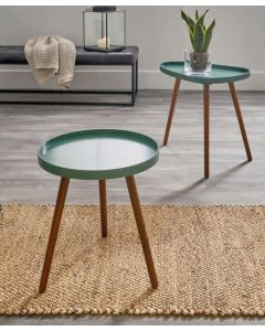 Forest Green and Pine Round Side Table