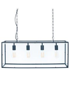 Fort Matt Black Metal & Glass Four Bulb Pendant