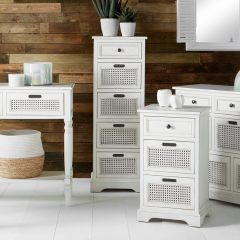 French Brushed White Pine 5 Drawer Tallboy