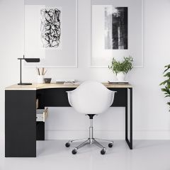 Function Corner Office Desk in Black and Oak