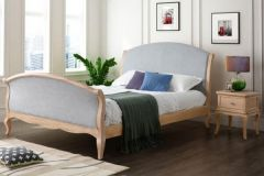 Gabriel King Size Oak and Grey Fabric Bed Frame
