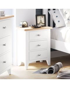 Gaetan Oak 3 Drawer Bedside Cabinet
