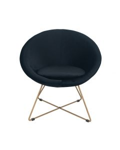 Galbraith Black Velvet Retro Chair with Gold Metal Legs
