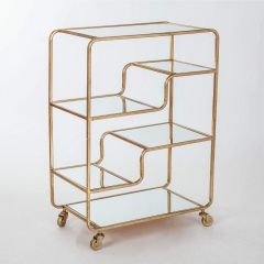 Gin Shu Gold Metal 2 Shelf Serving Trolley