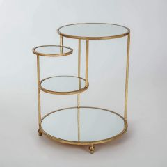 Gin Shu Gold Metal 4 Mini Shelf Round Side Table