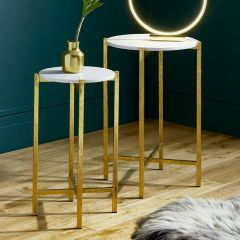 Giulia Antique Gold Metal Set of Tables