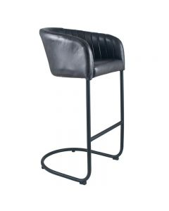 Giulio Steel Grey Leather & Iron Curved Back Bar Stool