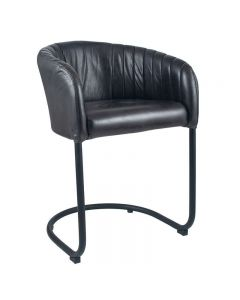 Giulio Steel Grey Leather & Iron Curved Back Chair