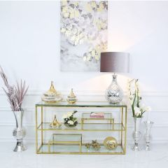 Glass Vase With Gold Fluted Lid