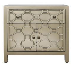 Gold Geometric Wood 1 Drawer 2 Door Cabinet/Sideboard