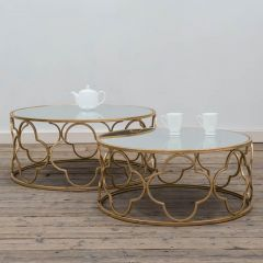 Gold Parisienne Metal Set of 2 Coffee Tables