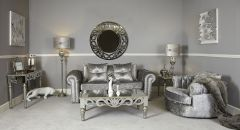 Greek Style Mirrored End Table with Silver Wood Trim