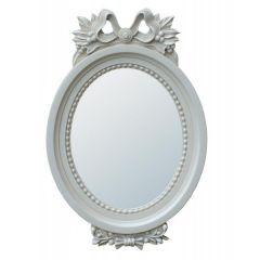 Grey/Blue Oval Ribbon Mirror