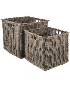 Grey Kubu Set of 2 Large Square Baskets