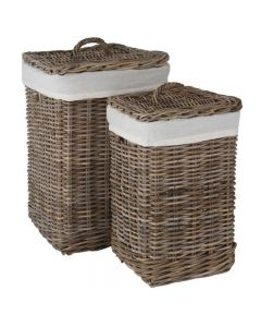 Grey Kubu Set of 2 Square Lined Linen Baskets