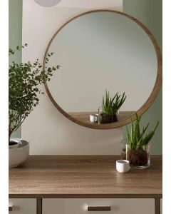 Grey Oak Veneer Round Wall Mirror