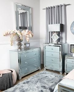 Grey Tinted Glass 3 Drawer Chest