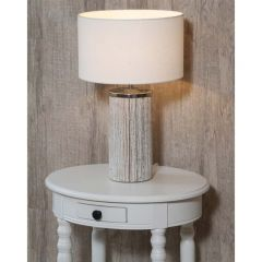 Grey Wash Wood Column Lamp