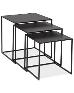Gunborg Black Wood Top Set of 3 Nesting Tables