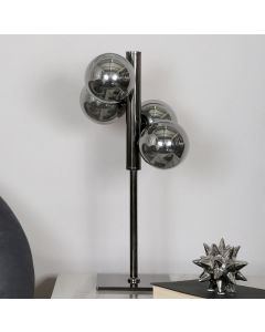 Gunmetal Table Lamp With 4 Smoked Glass Shades