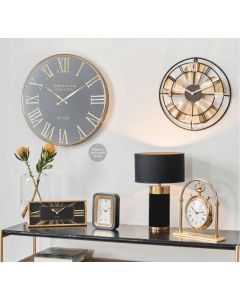 Haigh and Co Matt Black Wood & Gold Metal Desk Clock