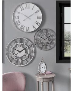 Haigh and Co Silver and White Metal Round Wall Clock
