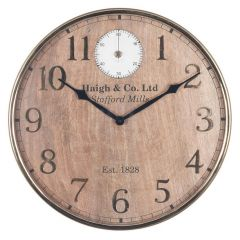 Haigh Mango Wood and Gold Wall Clock