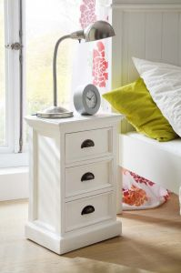 Halifax White 3 Drawer Bedside Unit