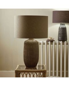 Hand Textured Glazed Grey Stoneware Large Table Lamp - Base Only