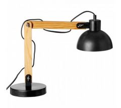 Hillary Black and Wood Adjustable Desk Lamp