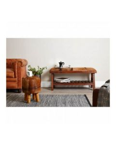 Inca Brown Teak Wood Bench