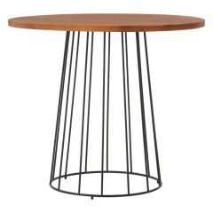 Industrial Foundry Fir Wood and Metal Round Table