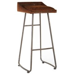 Industrial New Edition Brown Leather Effect Bar Stool