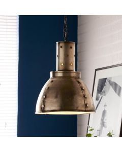 Industrial Pendant with Rustic Rivet Design