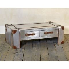 Industrial Aluminium Coffee Table 2 Drawer