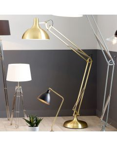 Industrial Round Shade Brass Task Floor Lamp