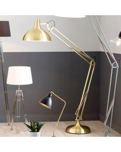Industrial Round Shade Brass Task Floor Lamp