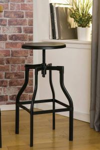 Industrial Foundry Black Metal Bar Stool