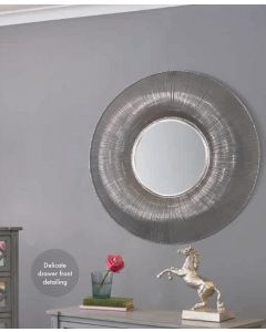 Jacob Silver Metal Wire Round Wall Mirror