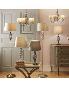 Jenna Antique Brass Metal Twist Detail Floor Lamp