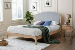 Jules King Size Oak and Fabric Bed Frame