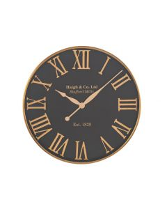 Justin Antique Gold & Black Metal Round Wall Clock