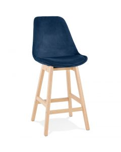 Katharina Blue Velour and Wood Bar Chair