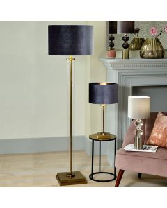 Keva Clear Glass and Antique Brass Floor Lamp - Base Only