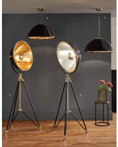 Large Black and Gold Metal Detailed Designer Tripod Floor Lamp