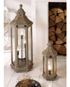 Large Industrial 3 Light Antique Wood Grey Floor Lamp Lantern