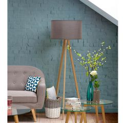 Laurits Grey On Natural Floor Lamp