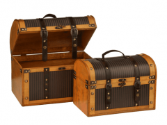 Leather Effect Set Of 2 Plywood Storage Cases