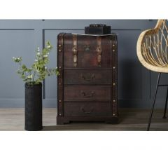 Leather Effect Trunk Design Cabinet With Drawers