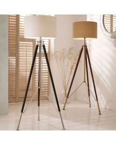 Ledbury Black Leather and Silver Tripod Floor Lamp - Base Only